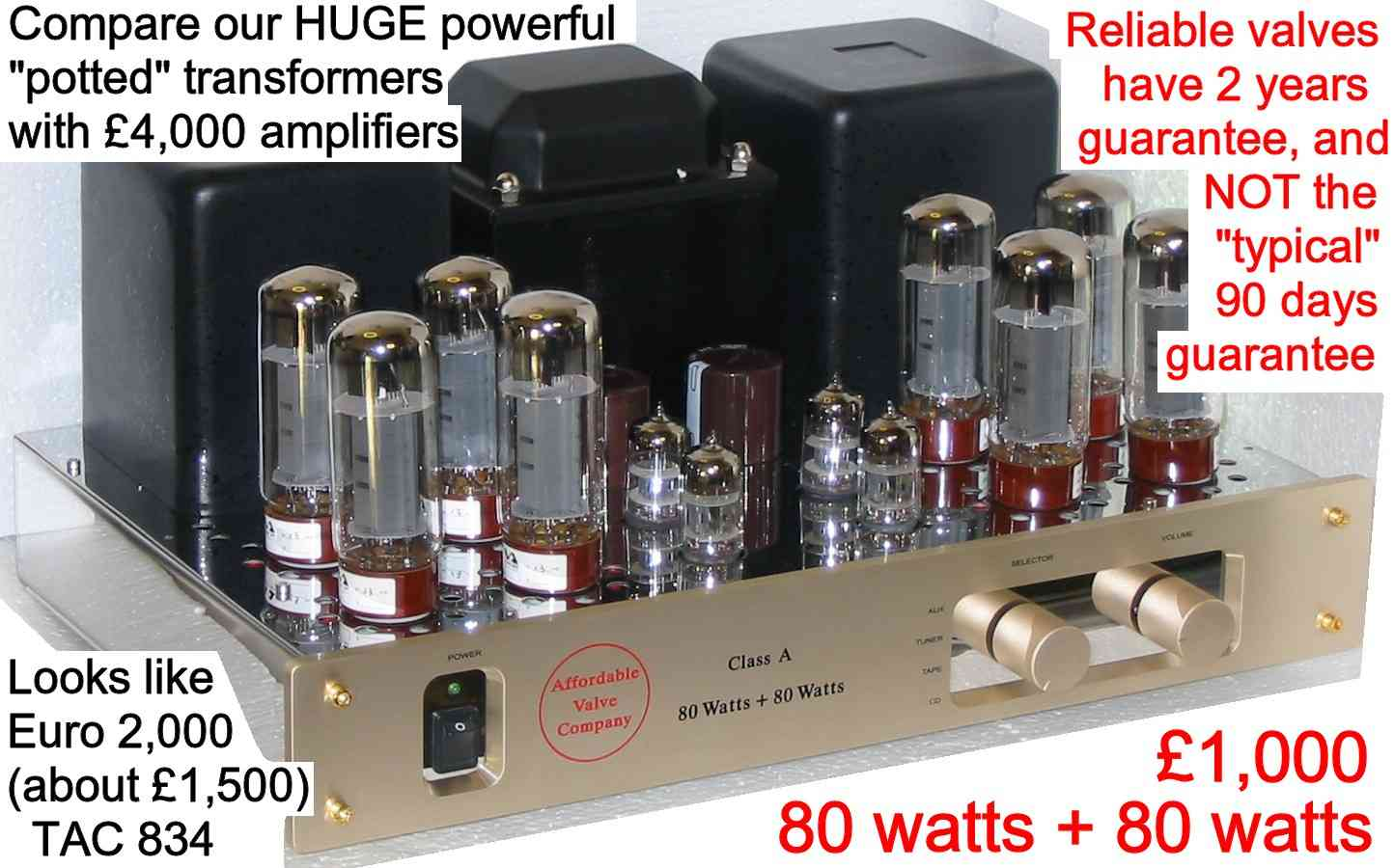 Tac 34 88 Magma El34 Valve Amplifier Kt88 20 Watt Power Circuit The Most Important Components Of A Are Valves And Transformers Reasonabley Priced Ultrasonic Filrers Like Silver Mica Capaitors